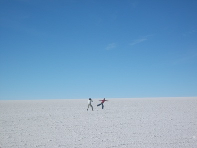 French women on Bolivian salt flat.