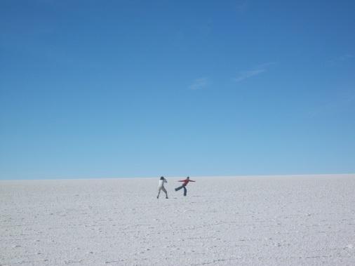 French women on Bolivian salt flat.