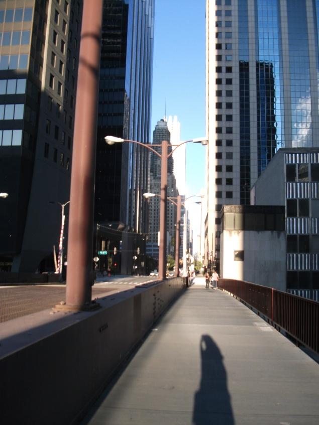 Shadow, skyscrapers, Chicago bridge.