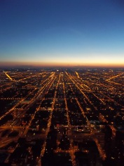 North side at night. Chicago from the Sears Tower.