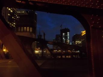 Nightfall through the pony trusses of the Lasalle Street Bridge, Chicago.