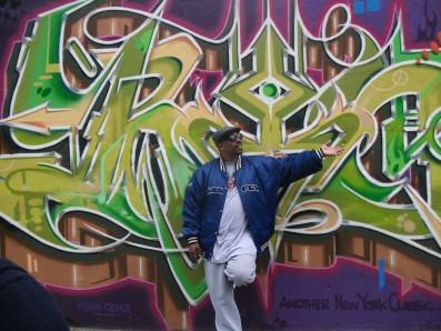 Grandmaster Caz at the Graffiti Wall of Fame, NYC.