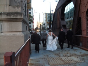 Chicago wedding, Clark Street Bridge.