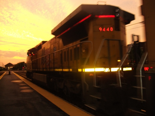 Freight train at dusk.
